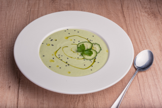 Avocado soup with cucumbers