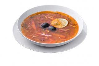 Mixed soup with salami