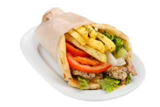 Suvlaki with kebab in pita bread
