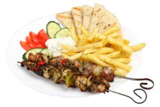 Serving of suvlaki Kebab
