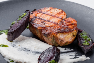 Pork neck with horseradish mousse and grilled beets