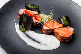 BBQ Pork tenderloin with horseradish mousse and grilled beets