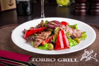 "Warm salad ""Grill"" with pork"