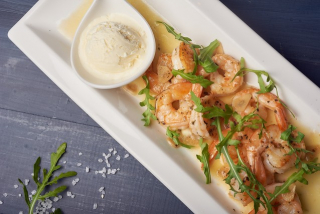 Tiger prawns with lemon sorbetto