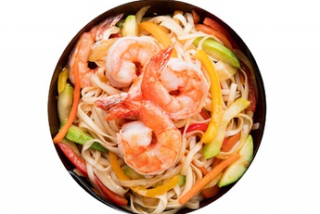 Udon with shrimps
