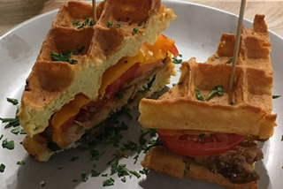 Waffles with chicken and cheese