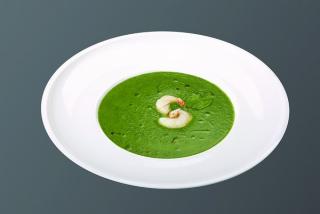 Zuppa crema di spinaci e gamberi