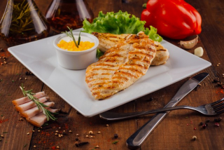 Grilled Chicken breast with bacon sauce