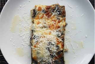 Lasagna with rabbit meat, mozzarella and porcini mushroom